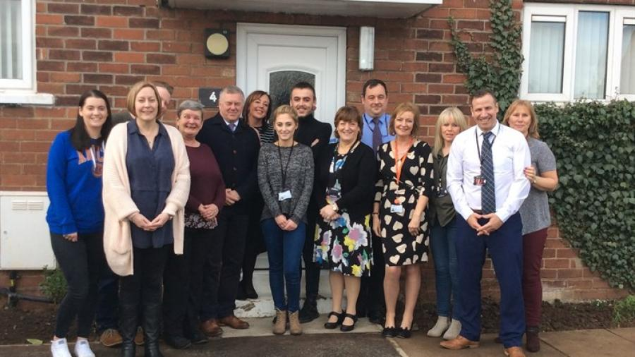Trust Young Advisors (centre), Doncaster Councillor Nuala Fennelly (front right of centre), Trust Chief Executive Paul Moffat (left of centre), members of the Trust's Looked After Children team and members of staff from the home attended the opening.