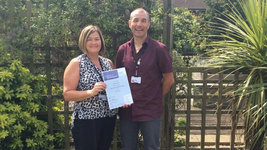 Newly accredited counsellor Nicky Fitzwilliam and Doncaster Children's Services Trust Counselling Co-ordinator Roger Middleton.