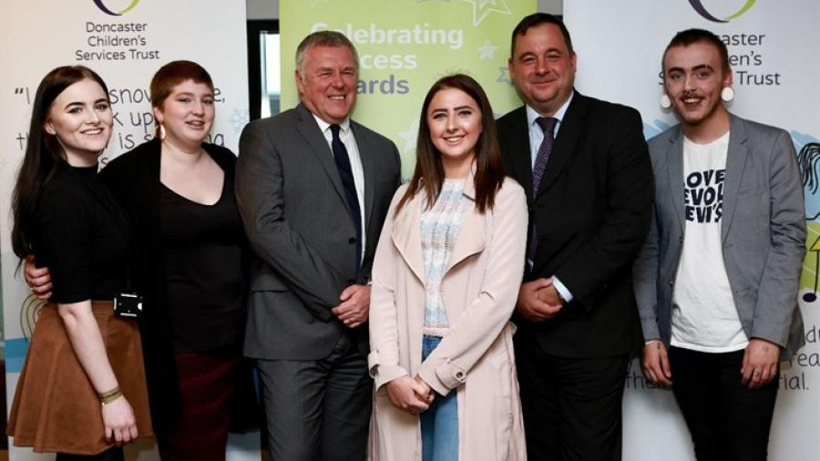 Doncaster Children's Services Trust Chief Executive Paul Moffat (third from left) and Trust Chief Operating Officer Mark Douglas, with some of Mr Moffat's Young Advisors at the Celebrating Success Awards (from the left) Mica Ferrol, Chloe Green, Amy Hodge