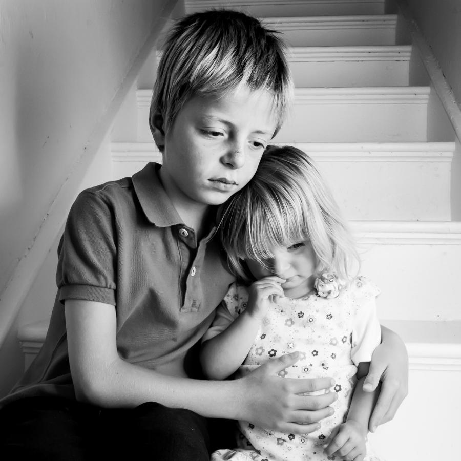 Brother and Sister on Stairs