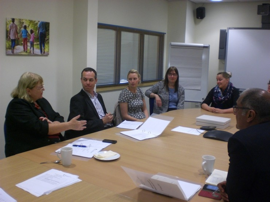 Elaine Simpson chats to staff from Doncaster Children's Trust.