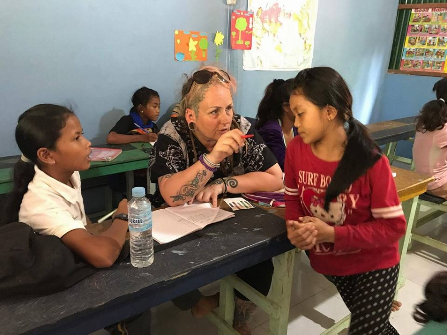 Hayley Relton teaching English in Cambodia
