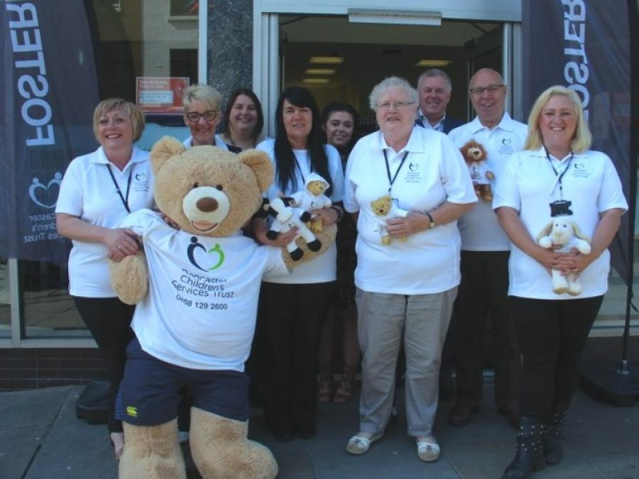 Some of our fostering team outside the Blue Building to mark the start of Fostering Fortnight 2016