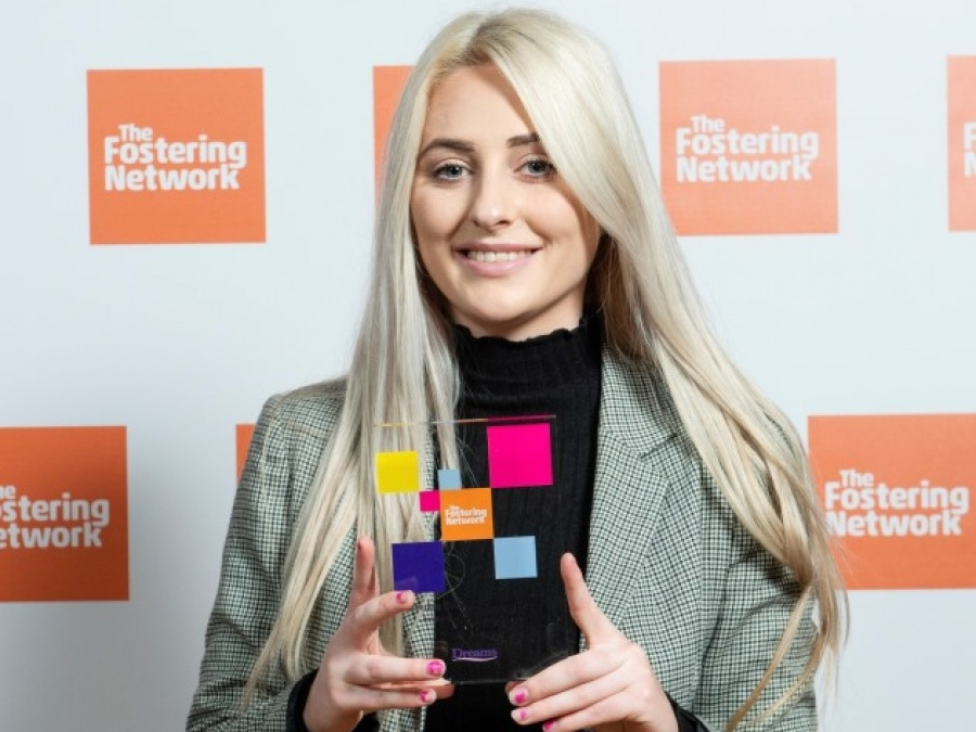 Becci collecting her Outstanding Achievement Award at The Fostering Network Awards