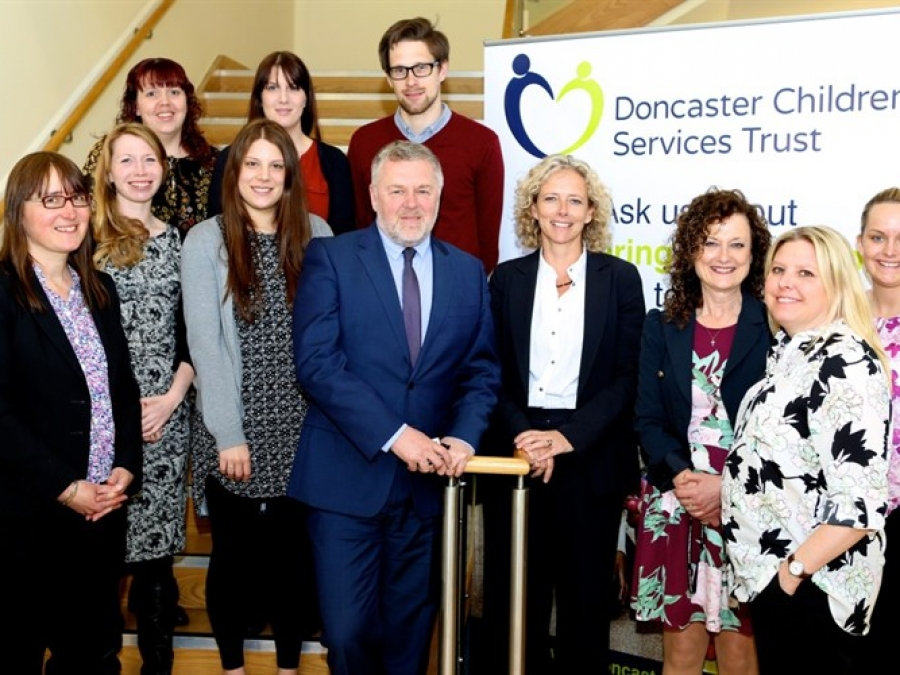 Isabelle Trowler meets staff at Doncaster Children's Services Trust