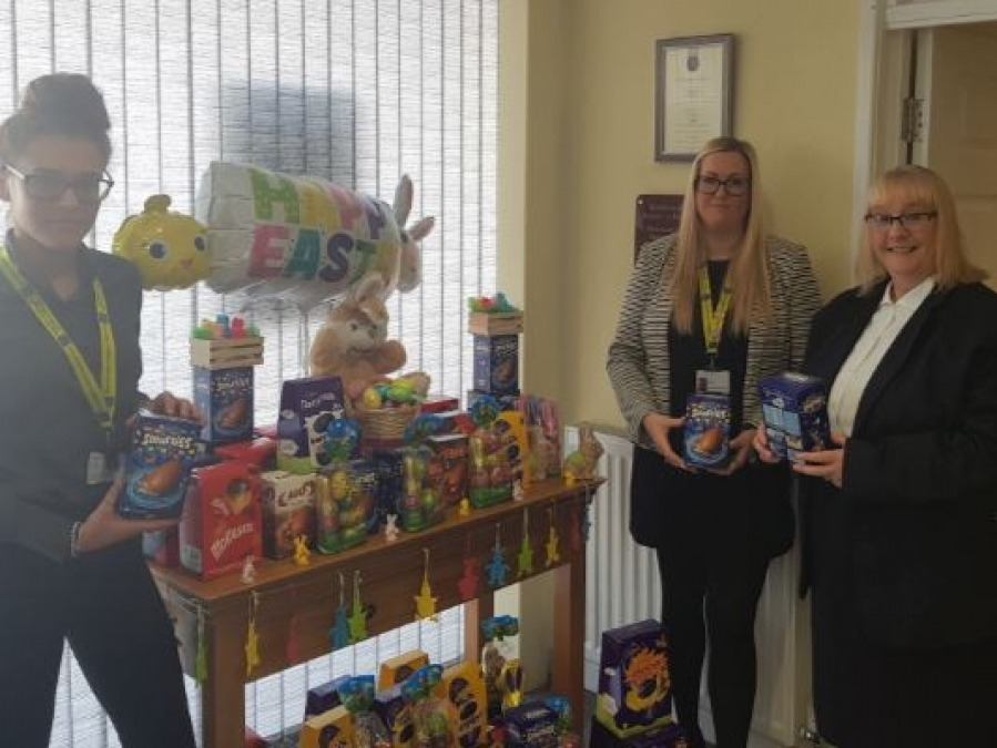 Trust colleagues collecting the generous donations from Steadmans