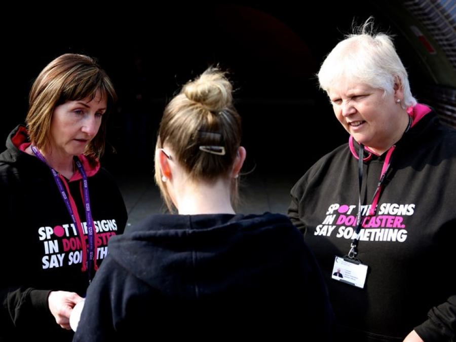 Pictured from the left is Jayne Pezzulo and Carmel Bartlett, while out and about promoting CSE.