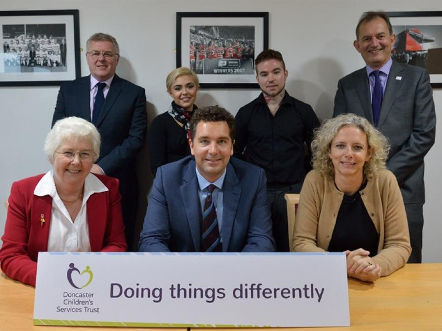 Mr Timpson, Chief Social Worker Isabelle Trowler and Mayor of Doncaster join Trust staff and Chief Executive's young advisors at celebration event.
