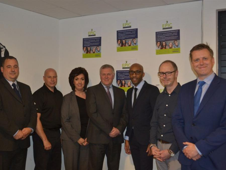 Paul Moffat (centre) and representatives of the Trust, South Yorkshire Police and Doncaster Council at the launch of EPIC.