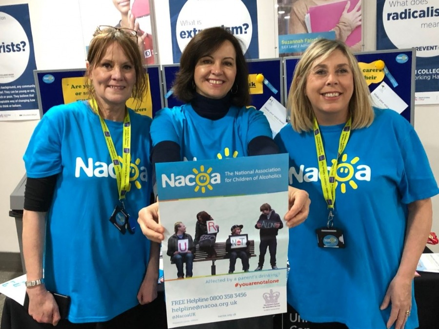 Trust workers Karen Parkinson and Maxine Smith with MP Caroline Flint raising awareness this Children of Alcoholics Week